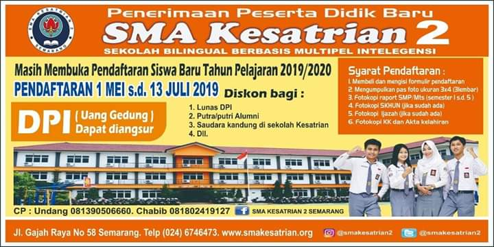 PPDB SMA Kesatrian 2 Semarang
