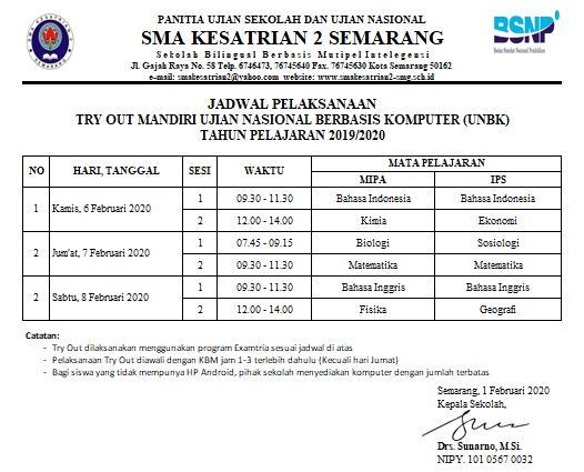 jadwal try out UN